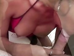 POV blow job from lactating Latina shemale in sexy fishnets