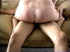 Wifey railing Ebony dick and spunking on Leather Sofa
