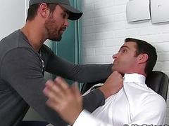 Inked hunk dominates over office homo