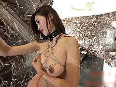 chinese girl posing in bathroom