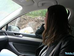 Public Agent Backseat creampie for Jessica Beil and her wet pussy
