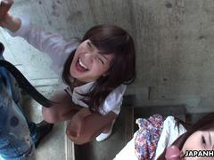 Two slutty Asian sluts sucking dudes on the stairwell