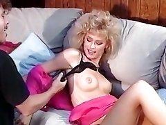 Impressive hot retro blonde excites her boyfriend with deep blowjob