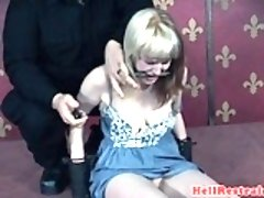 Clitpierced sub slut suspended and whipped