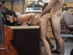 Brunette Slut Sucking Dick And Fucked In Back Of Pawn Shop