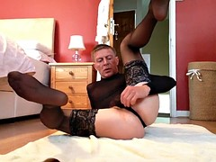 Cross dressing mature gay loves flashing his big cock