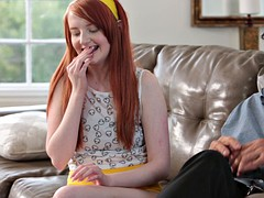 Young pale red head gets taught rough by home teacher