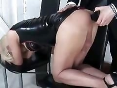 Luxurious blonde wearing latex gets her asshole drilled in many ways