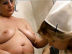 Retro nurse costume on girl in lesbian porn