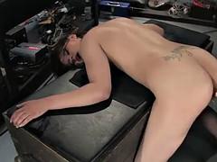 sensual brunette wants some rubber dick machine fucking