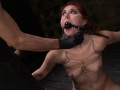 Bound slave gets gagged
