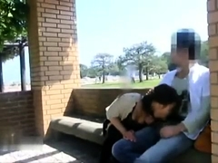 Naughty Japanese girlfriend gives a nice blowjob in public