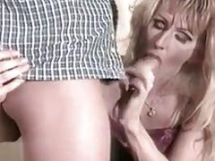 Raunchy young shemale babe in lingerie sucks and fucks hard