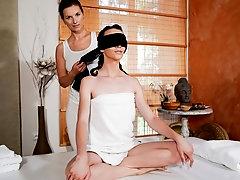 Erotic blindfold lesbian massage