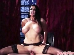 Busty dom babe face fucked after cock riding