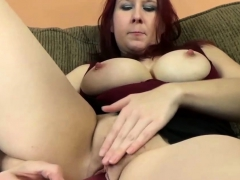 Chesty Slut Bangs Her Cunt With a Dildo