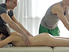Small tits babe gets pounded by two masseurs perverted