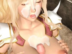 Anime blonde gets cum shot on her big tits and pussy