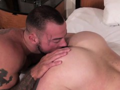 Muscle gay anal sex and eating cum