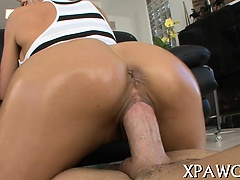 Slut receives covered with oil previous to sex