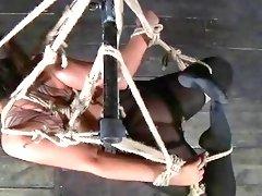 Brunette bimbo has cruel bondage sex with master BDSM porn