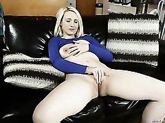Arousing milky white blonde masturbates tenderly