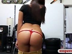 Busty college girl fucked by pawn dude at the pawnshop