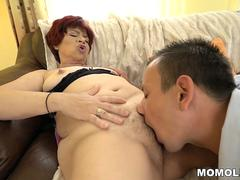 Old lady wants to take and blow that stiff cock and get it between her sexy legs in different poses from this hunk