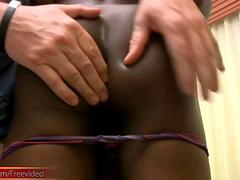 Dark skin femboy with pretty face gets her anal hole fucked
