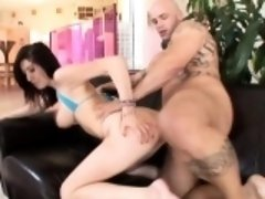 Bodacious brunette has her neighbor's hard cock making her peach happy