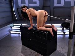 That machine keeps fucking her wet Latina cunt