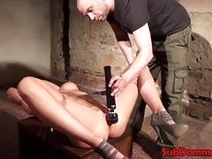 Bound and gagged slut pussy toyed by master BDSM porn
