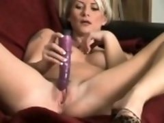 Cougar Strips and Masturbates with her Toy