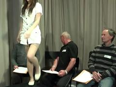 a teen doll gets banged by a group of old men