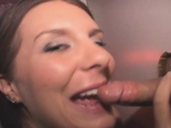 Brunette Amateur With  No Shame Sucking Through Glory Hole