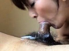 Amateur Japanese wife milks a hard dick with her sexy lips
