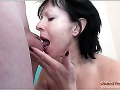 Mature sucks and sits on young man dick