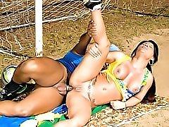 Brazilian anal sex outdoors