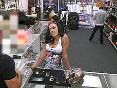Big titty latina nailed at the pawnshop