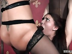 Face fucked and slapped girl in sexy bondage