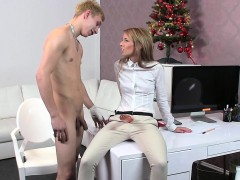 Female agent with strap on fucks amateur dude