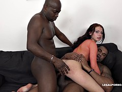 Two black guys give this horny chick a hard double-penetration