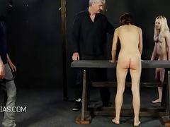 Their big butts got whipped until they are red BDSM