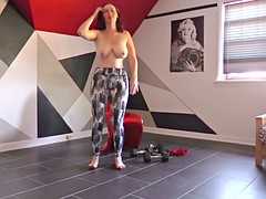 She likes to do her exercise topless