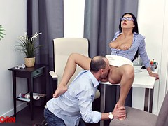Clothed secretary receives a facial after fucking her bald boss