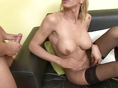 Luxurious sex between a horny blondie and older addicted dude