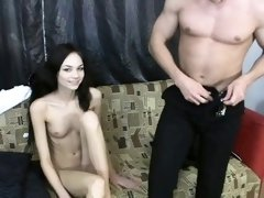 Sweet hottie is pleasuring 2 horny and wild peckers