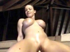Hottie with Big tits Rides Dildo