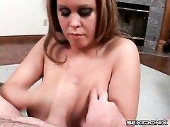 Brandy Talore sucks him off onto her huge tits