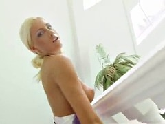 sexy blonde's fucked by a big cock as she moans
